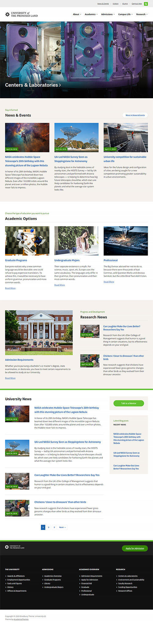 Alternative Homepage Overview: University