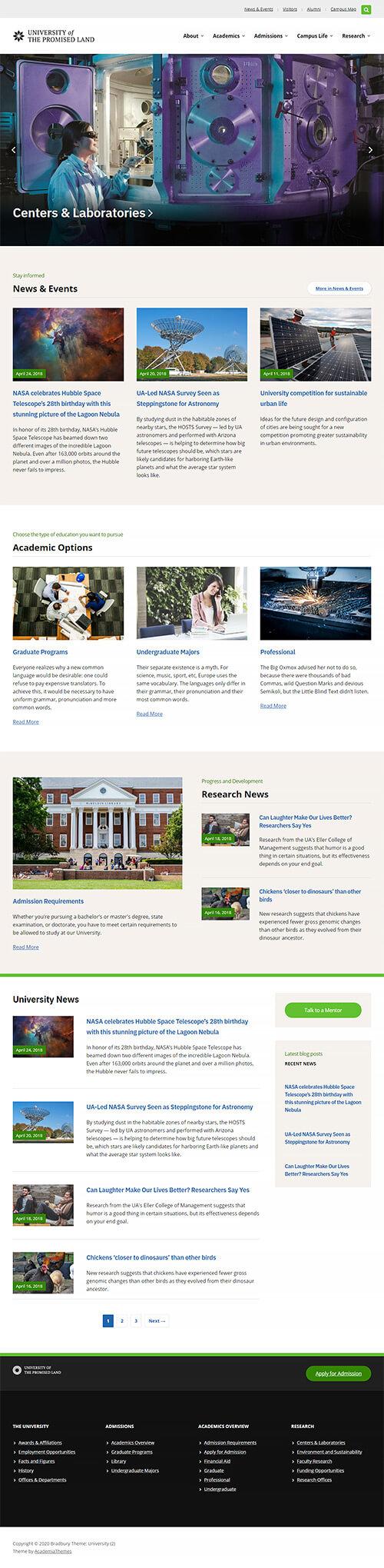University Website Demo #2: Homepage