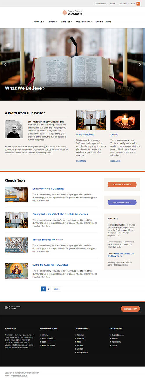 Alternative Homepage Overview: Church