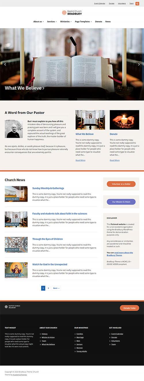 Church Website Demo: Homepage
