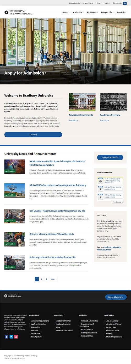 Default Homepage Overview: University