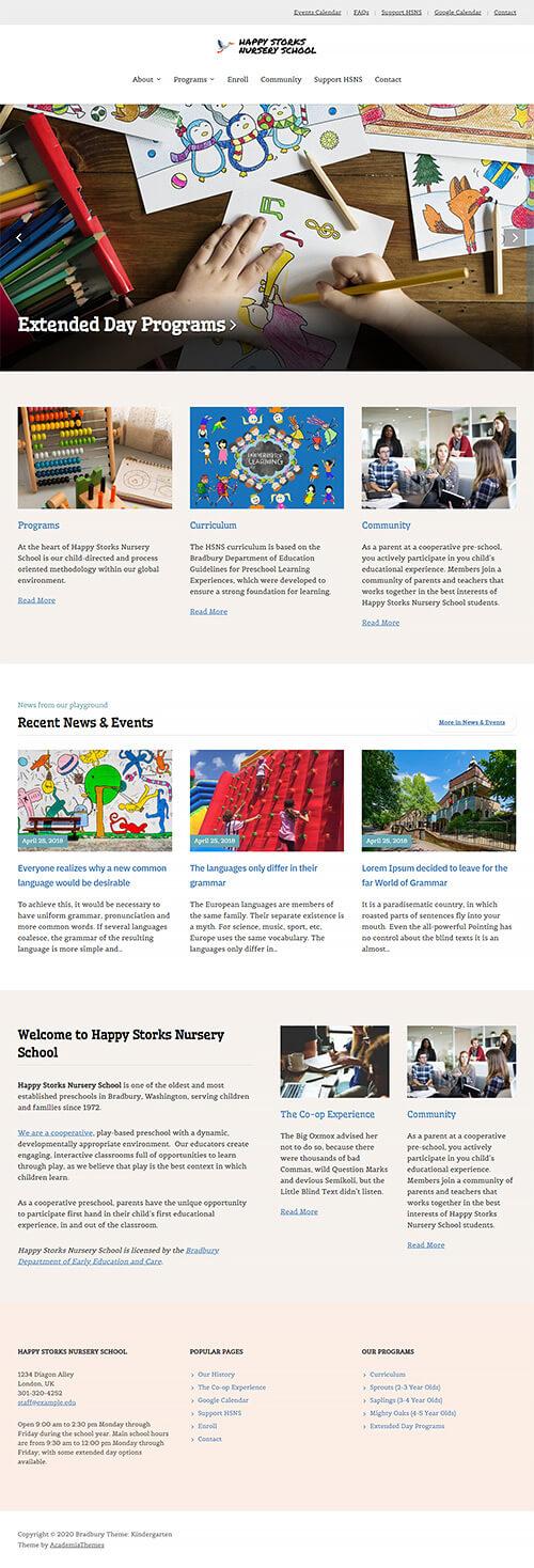 Kindergarten Website Demo: Homepage