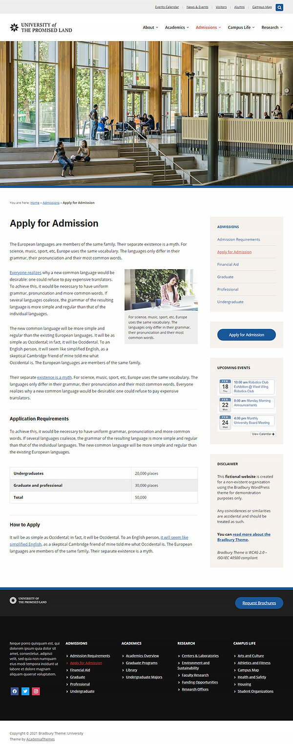 Page with the Sidebar on the Left