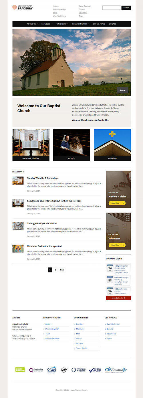 Church Website Demo: Homepage