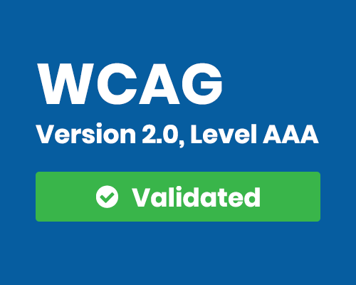 Badge for compliance with WCAG 2.0 Triple-A guidelines.